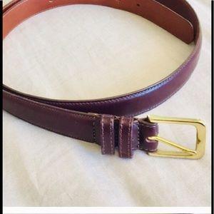 "Coach Burgundy Leather Belt Size 38"""